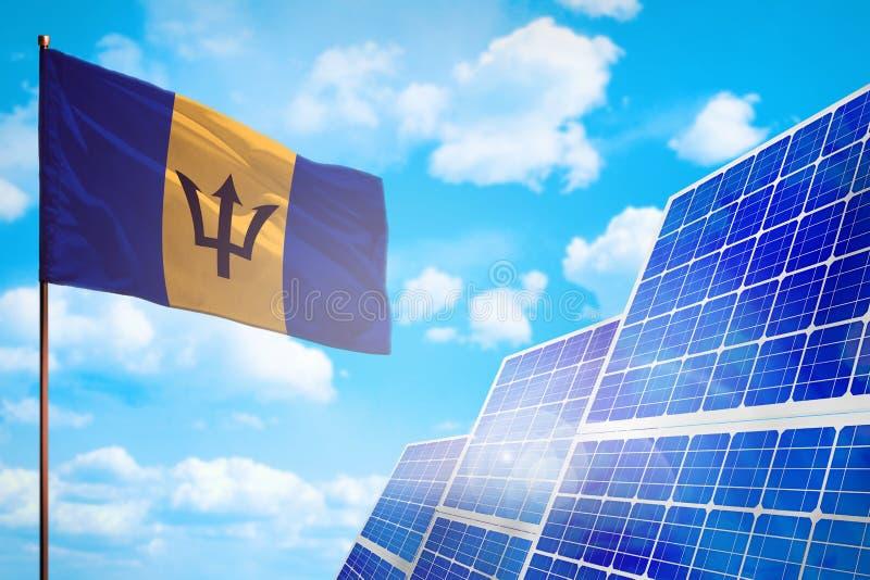 Alternative Energie Barbados, Solarenergiekonzept mit industrieller Illustration der Flagge - Symbol des Kampfes mit der globalen stock abbildung