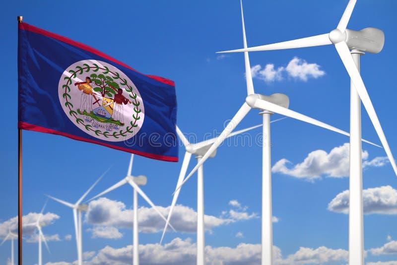 Alternative Energie Belizes, industrielles Konzept der Windenergie mit Windmühlen und industrielle Illustration der Flagge - ausw stock abbildung