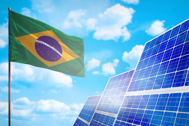 Alternative Energie Brasiliens, Solarenergiekonzept mit industrieller Illustration der Flagge - Symbol des Kampfes mit der global stock abbildung