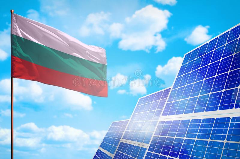 Alternative Energie Bulgariens, Solarenergiekonzept mit industrieller Illustration der Flagge - Symbol des Kampfes mit der global stock abbildung