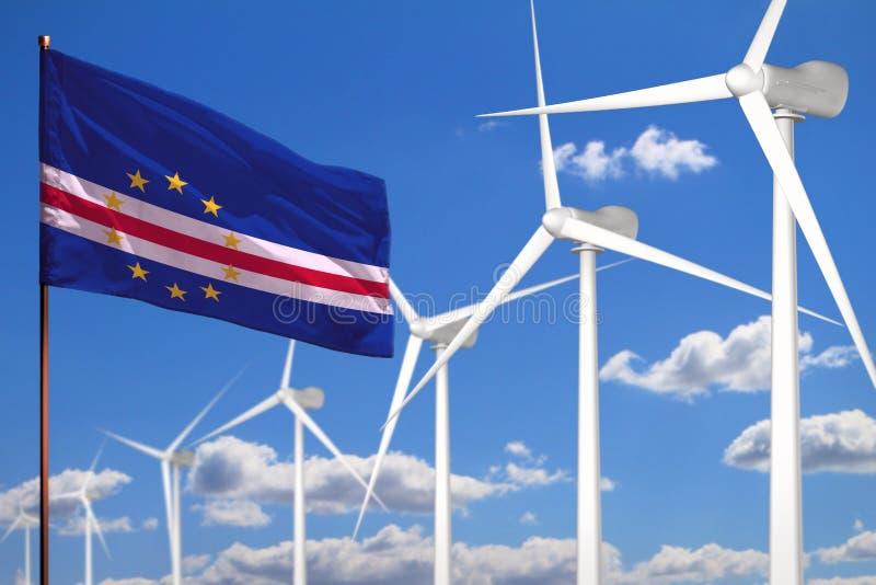 Alternative Energie Cabo Verde, industrielles Konzept der Windenergie mit Windmühlen und industrielle Illustration der Flagge - a lizenzfreie abbildung