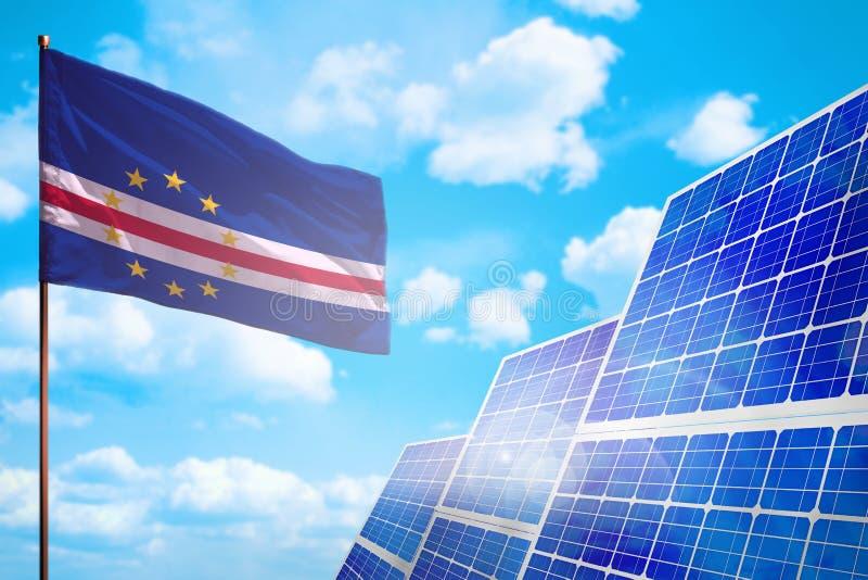 Alternative Energie Cabo Verde, Solarenergiekonzept mit industrieller Illustration der Flagge - Symbol des Kampfes mit der global vektor abbildung