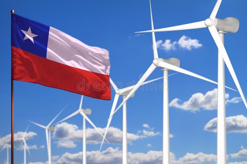 Alternative Energie Chiles, industrielles Konzept der Windenergie mit Windmühlen und industrielle Illustration der Flagge - auswe lizenzfreie abbildung