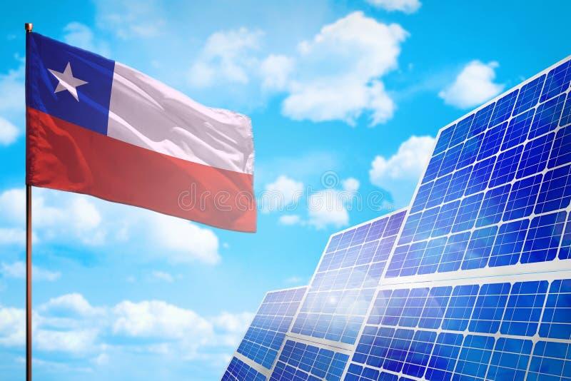 Alternative Energie Chiles, Solarenergiekonzept mit industrieller Illustration der Flagge - Symbol des Kampfes mit der globalen E vektor abbildung