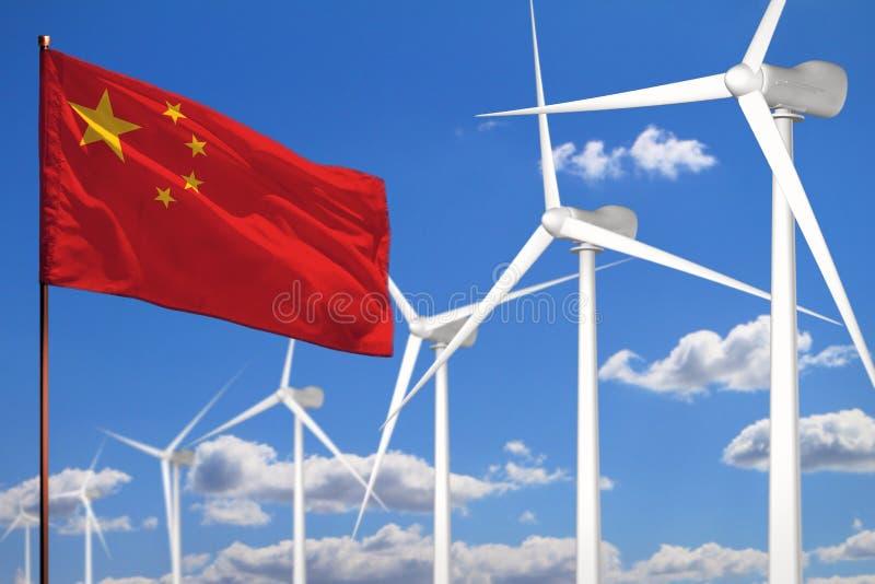 Alternative Energie Chinas, industrielles Konzept der Windenergie mit Windmühlen und industrielle Illustration der Flagge - auswe vektor abbildung