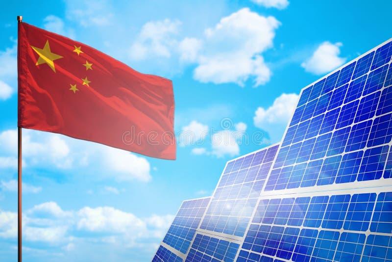 Alternative Energie Chinas, Solarenergiekonzept mit industrieller Illustration der Flagge - Symbol des Kampfes mit der globalen E stock abbildung
