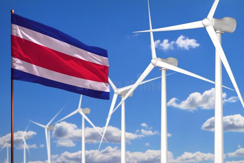 Alternative Energie Costa Ricas, industrielles Konzept der Windenergie mit Windmühlen und industrielle Illustration der Flagge - vektor abbildung