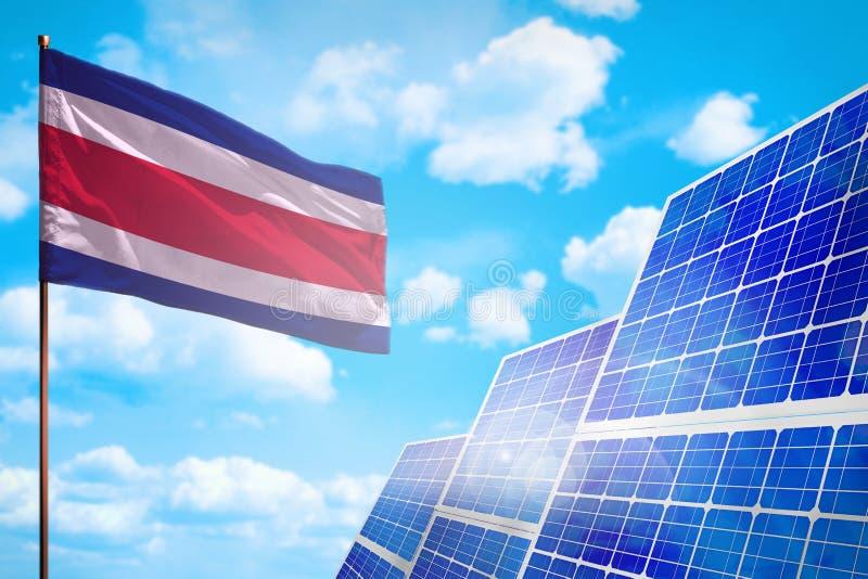 Alternative Energie Costa Ricas, Solarenergiekonzept mit industrieller Illustration der Flagge - Symbol des Kampfes mit der globa lizenzfreie abbildung