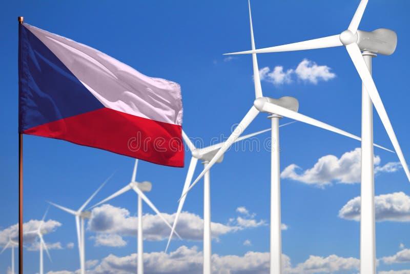 Alternative Energie Czechia, industrielles Konzept der Windenergie mit Windmühlen und industrielle Illustration der Flagge - ausw lizenzfreie abbildung