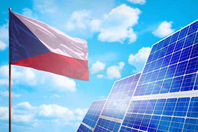 Alternative Energie Czechia, Solarenergiekonzept mit industrieller Illustration der Flagge - Symbol des Kampfes mit der globalen  lizenzfreie abbildung