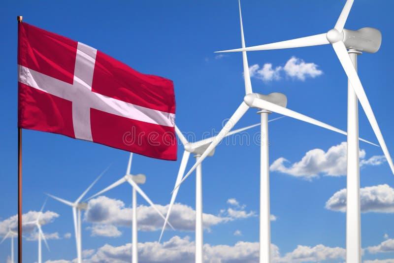 Alternative Energie Dänemarks, industrielles Konzept der Windenergie mit Windmühlen und industrielle Illustration der Flagge - au stock abbildung