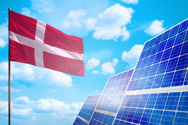 Alternative Energie Dänemarks, Solarenergiekonzept mit industrieller Illustration der Flagge - Symbol des Kampfes mit der globale vektor abbildung