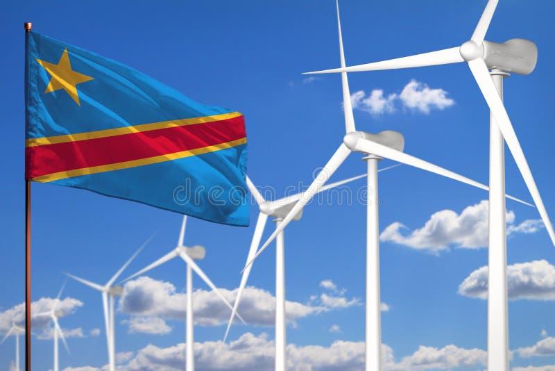 Alternative Energie Demokratische Republik Kongos, industrielles Konzept der Windenergie mit Windmühlen und industrielle Illustra stock abbildung