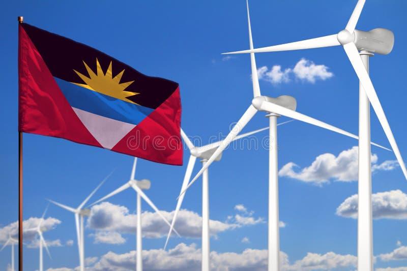 Alternative Energie des Antigua und Barbuda, industrielles Konzept der Windenergie mit Windmühlen und industrielle Illustration d stock abbildung
