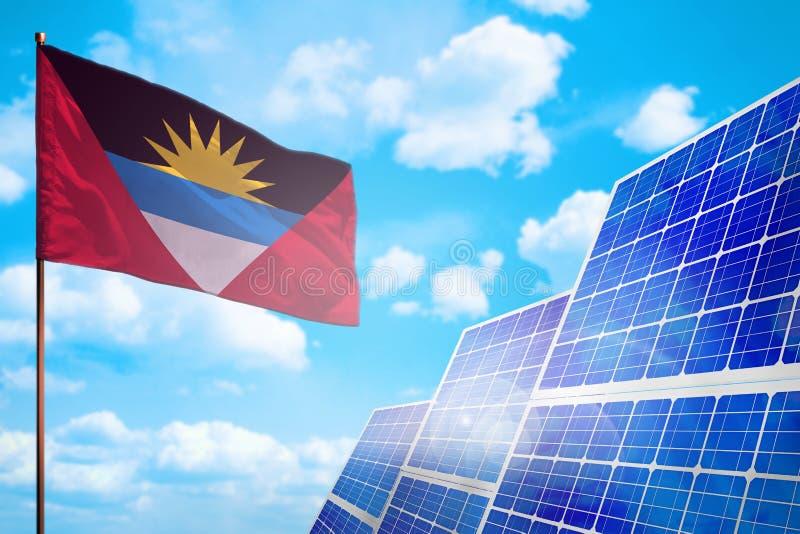 Alternative Energie des Antigua und Barbuda, Solarenergiekonzept mit industrieller Illustration der Flagge - Symbol des Kampfes m vektor abbildung