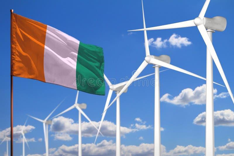 Alternative Energie des Taubenschlages d Ivoire, industrielles Konzept der Windenergie mit Windmühlen und industrielle Illustrati vektor abbildung