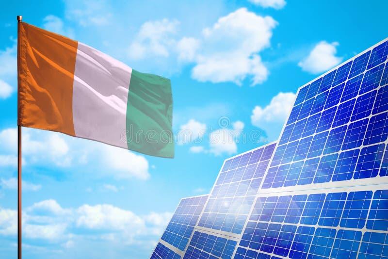 Alternative Energie des Taubenschlages d Ivoire, Solarenergiekonzept mit industrieller Illustration der Flagge - Symbol des Kampf vektor abbildung