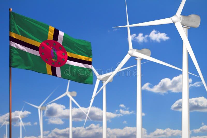 Alternative Energie Dominicas, industrielles Konzept der Windenergie mit Windmühlen und industrielle Illustration der Flagge - au stock abbildung