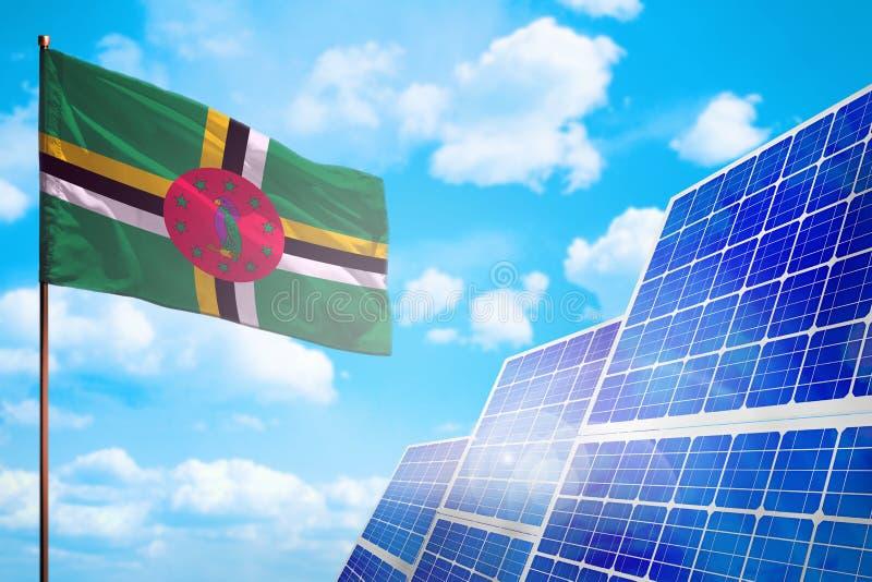 Alternative Energie Dominicas, Solarenergiekonzept mit industrieller Illustration der Flagge - Symbol des Kampfes mit der globale vektor abbildung