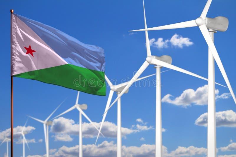 Alternative Energie Dschibutis, industrielles Konzept der Windenergie mit Windmühlen und industrielle Illustration der Flagge - a lizenzfreie abbildung