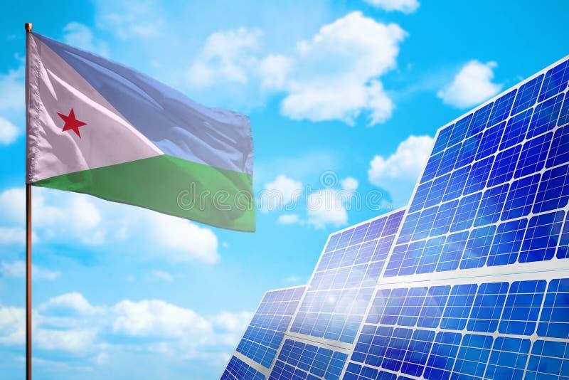 Alternative Energie Dschibutis, Solarenergiekonzept mit industrieller Illustration der Flagge - Symbol des Kampfes mit der global stock abbildung