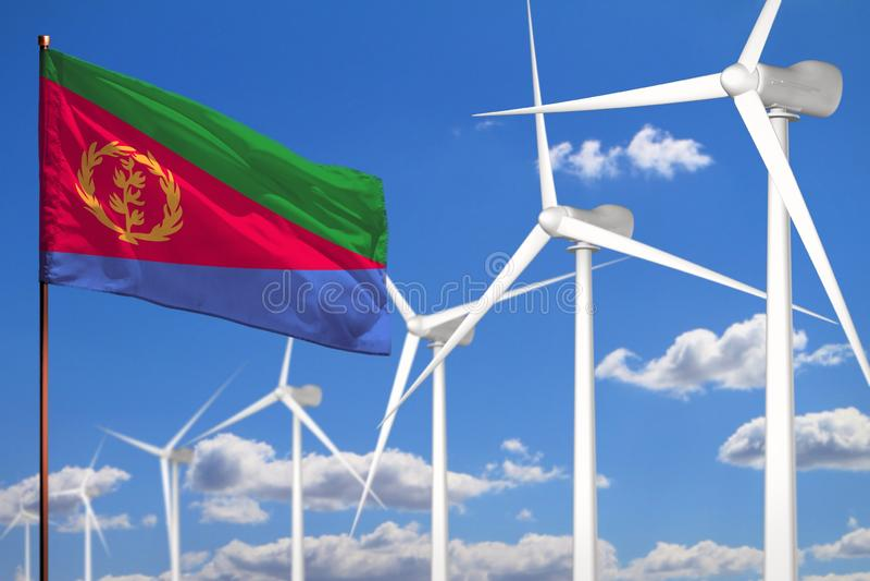 Alternative Energie Eritreas, industrielles Konzept der Windenergie mit Windmühlen und industrielle Illustration der Flagge - aus stock abbildung