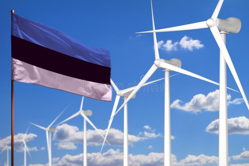 Alternative Energie Estlands, industrielles Konzept der Windenergie mit Windmühlen und industrielle Illustration der Flagge - aus stock abbildung
