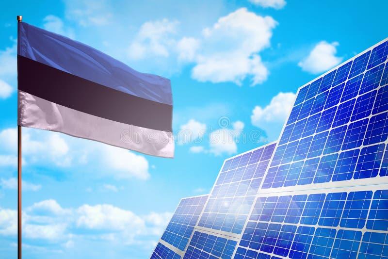 Alternative Energie Estlands, Solarenergiekonzept mit industrieller Illustration der Flagge - Symbol des Kampfes mit der globalen lizenzfreie abbildung