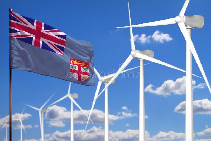 Alternative Energie Fidschis, industrielles Konzept der Windenergie mit Windmühlen und industrielle Illustration der Flagge - aus stock abbildung