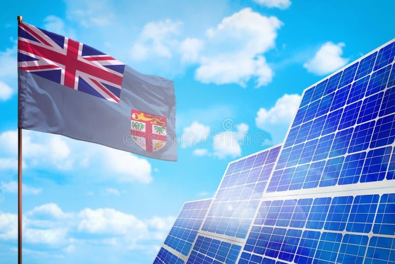 Alternative Energie Fidschis, Solarenergiekonzept mit industrieller Illustration der Flagge - Symbol des Kampfes mit der globalen lizenzfreie abbildung