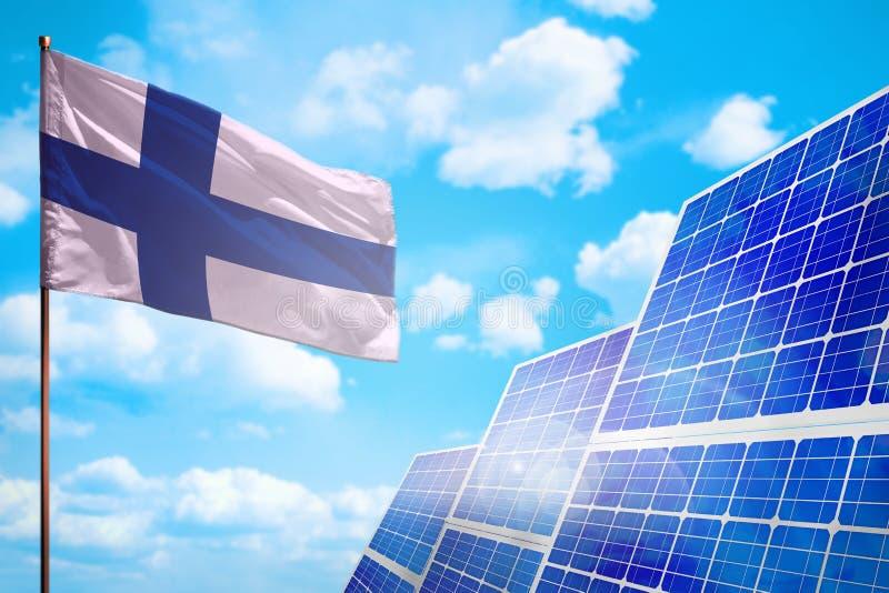Alternative Energie Finnlands, Solarenergiekonzept mit industrieller Illustration der Flagge - Symbol des Kampfes mit der globale lizenzfreie abbildung