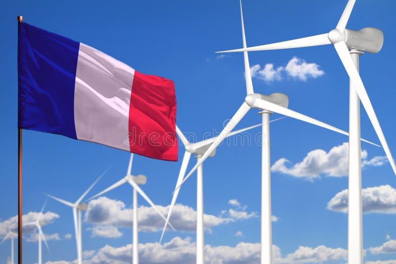 Alternative Energie Frankreichs, industrielles Konzept der Windenergie mit Windmühlen und industrielle Illustration der Flagge -  lizenzfreie abbildung
