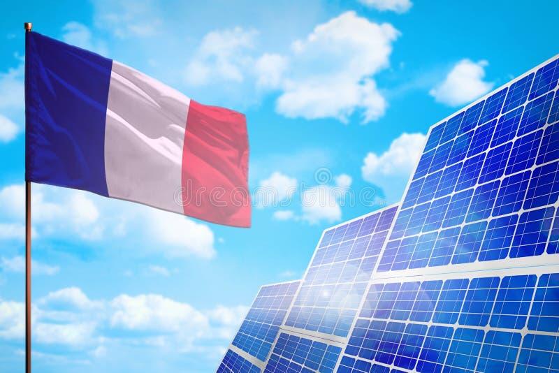 Alternative Energie Frankreichs, Solarenergiekonzept mit industrieller Illustration der Flagge - Symbol des Kampfes mit der globa lizenzfreie abbildung