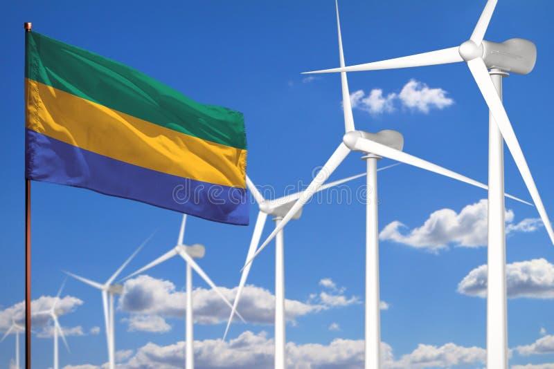 Alternative Energie Gabuns, industrielles Konzept der Windenergie mit Windmühlen und industrielle Illustration der Flagge - auswe stock abbildung