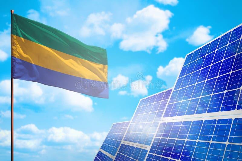 Alternative Energie Gabuns, Solarenergiekonzept mit industrieller Illustration der Flagge - Symbol des Kampfes mit der globalen E lizenzfreie abbildung
