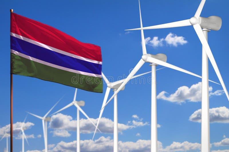 Alternative Energie Gambias, industrielles Konzept der Windenergie mit Windmühlen und industrielle Illustration der Flagge - ausw lizenzfreie abbildung