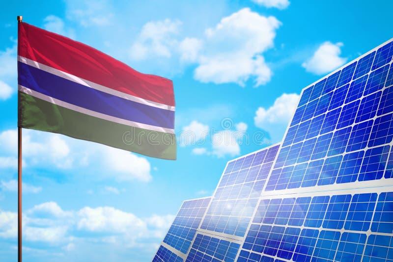 Alternative Energie Gambias, Solarenergiekonzept mit industrieller Illustration der Flagge - Symbol des Kampfes mit der globalen  stock abbildung