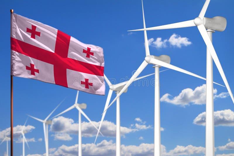 Alternative Energie Georgia, industrielles Konzept der Windenergie mit Windmühlen und industrielle Illustration der Flagge - ausw stock abbildung