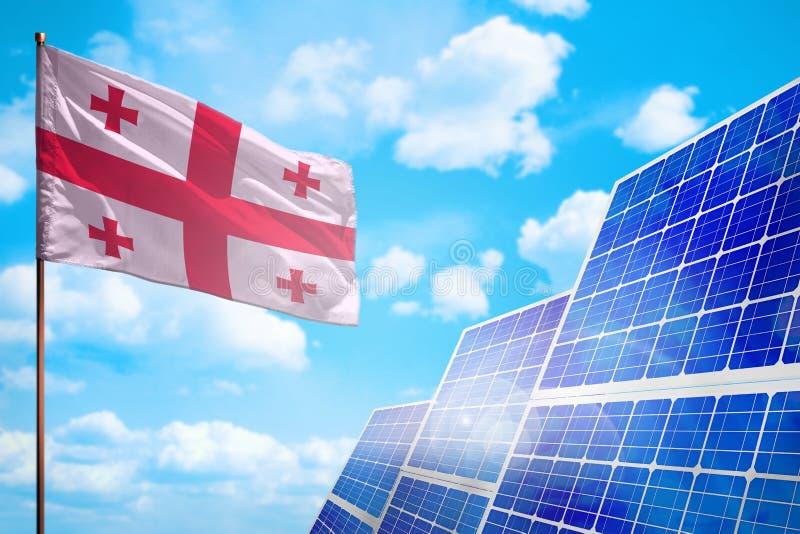 Alternative Energie Georgia, Solarenergiekonzept mit industrieller Illustration der Flagge - Symbol des Kampfes mit der globalen  vektor abbildung