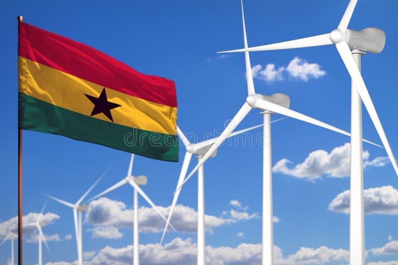 Alternative Energie Ghanas, industrielles Konzept der Windenergie mit Windmühlen und industrielle Illustration der Flagge - auswe stock abbildung