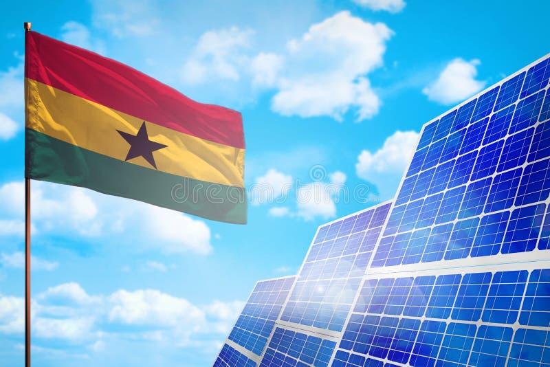 Alternative Energie Ghanas, Solarenergiekonzept mit industrieller Illustration der Flagge - Symbol des Kampfes mit der globalen E stock abbildung