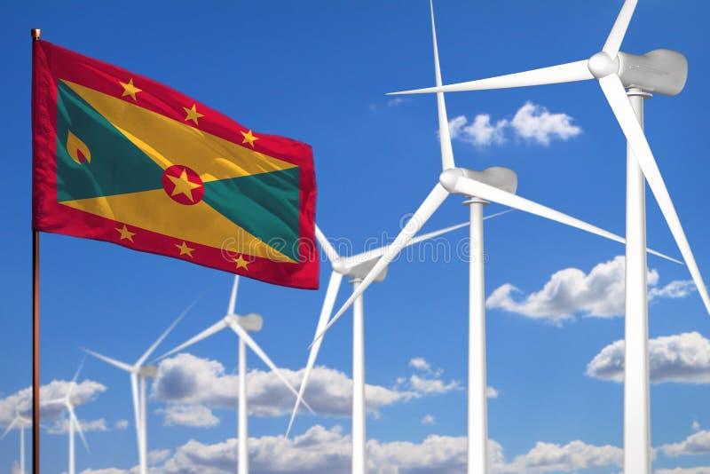Alternative Energie Grenadas, industrielles Konzept der Windenergie mit Windmühlen und industrielle Illustration der Flagge - aus stock abbildung