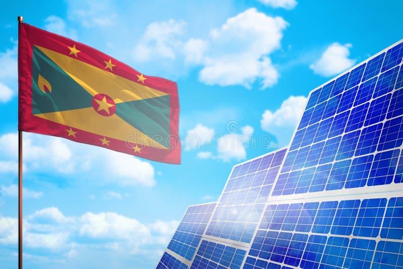 Alternative Energie Grenadas, Solarenergiekonzept mit industrieller Illustration der Flagge - Symbol des Kampfes mit der globalen lizenzfreie abbildung