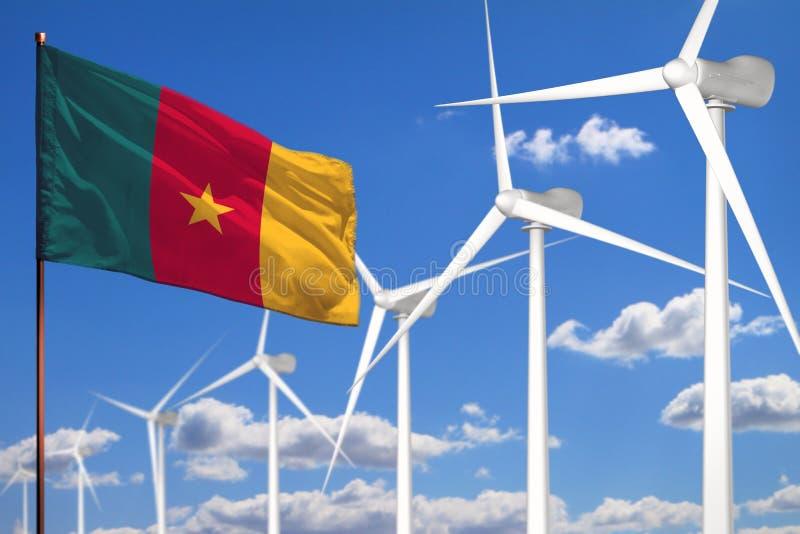 Alternative Energie Kameruns, industrielles Konzept der Windenergie mit Windmühlen und industrielle Illustration der Flagge - aus lizenzfreie abbildung
