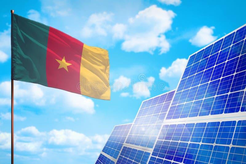 Alternative Energie Kameruns, Solarenergiekonzept mit industrieller Illustration der Flagge - Symbol des Kampfes mit der globalen lizenzfreie abbildung
