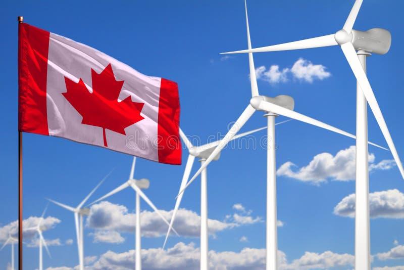 Alternative Energie Kanadas, industrielles Konzept der Windenergie mit Windmühlen und industrielle Illustration der Flagge - ausw vektor abbildung