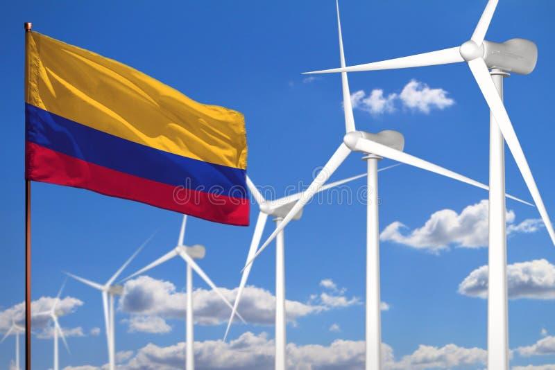 Alternative Energie Kolumbiens, industrielles Konzept der Windenergie mit Windmühlen und industrielle Illustration der Flagge -  stock abbildung