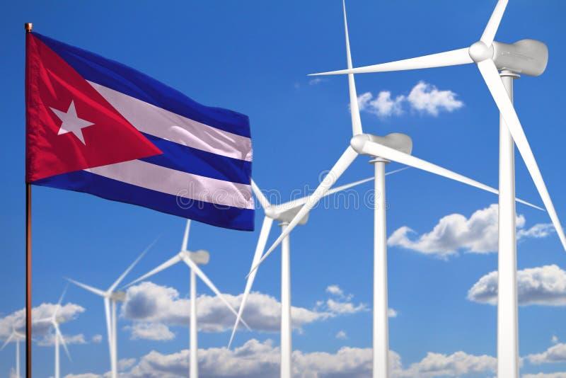 Alternative Energie Kubas, industrielles Konzept der Windenergie mit Windmühlen und industrielle Illustration der Flagge - auswec vektor abbildung