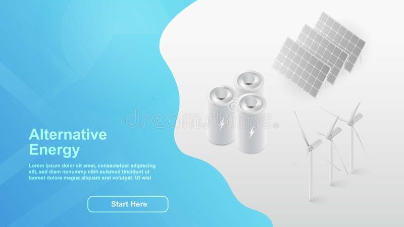 Alternative Energie Solar, Windenergie Webseitenkonzept für Ihr Design isometrische Landungsseite des Konzeptes 3d lizenzfreie abbildung