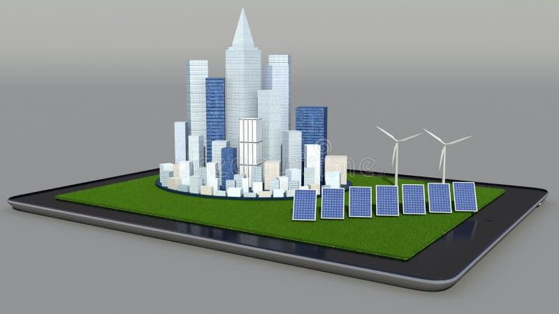 Alternative Energie. Sonnenkollektor, Windkraftanlage und  stock abbildung